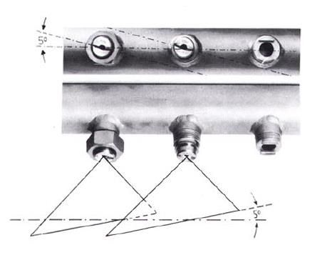 燕尾槽式扇形喷嘴安装示意图